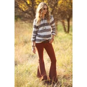 Free People Three Spinners Sweater Striped Wool Silk Chunky Knit Size Small S